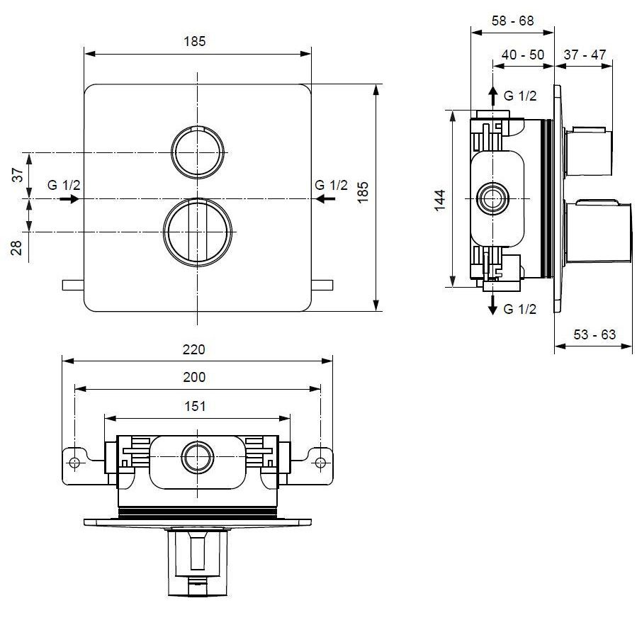 medium resolution of ideal standard easy box slim shower thermostatic with 2 function diverter a5880aa spare parts